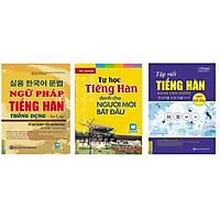 Combo tự học tiếng hàn cho người mới học gồm ngữ pháp tiếng hàn thông dụng sơ cấp, tự học tiếng hàn cho người mới bắt đầu, tập viết tiếng hàn cho người mới bắt đầu
