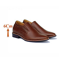 Giày Độn Nam T&TRA Tăng Cao 6Cm- T52 Nâu - Chất Liệu Da Bò Cao Cấp, Đế Cao Su Đúc , Phần Tăng Cao Ẩn Bên Trong