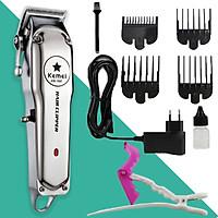 Tông đơ cắt tóc chuyên nghiệp Kemei KM-1997 thiết kế pin lithium 2000mAh sạc nhanh, toàn thân là hợp kim nhôm cao cấp Tặng kèm 1 kẹp cá sấu chia tóc tiện lợi ( tặng màu ngẫu nhiên )