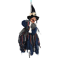 Halloween Hanging Witch Scary Creepy Flying Screaming Witch Voice Touch Control with Red LED Light Ornament Halloween