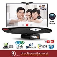 Android tivi box tích hợp camera 800W HD và micro có thể nghe gọi video trực tiếp trên tivi, bluetooth 4.2, xem video 4K, chạy rất nhanh và mượt T95C1