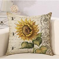 Gối tựa lưng vuông trang trí, gối vuông sofa  Hoa Hướng Dương vải bố cao cấp