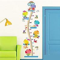 Giấy nhựa Decal trang trí dán tường,hình Vườn sở thú đo chiều cao cho bé