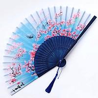 Quạt cổ trang tam sinh tam thế hoa đào Chiết Nhan cầm tay cosplay nan trúc trang trí in hình tặng ảnh thiết kế Vcone
