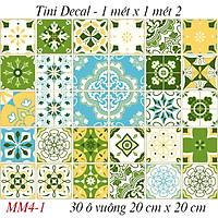 1 ô Decal Gạch bông dán 20x20 siêu to - Decal Gạch hoa dán tường, dán sàn, dán bếp. 1 ô gạch bông 20cmx20cm.