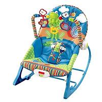 Ghế rung, Ghế nhún dành cho Bé từ sơ sinh đến 18kg, có phát nhạc kích thích sự phát triển não bộ của trẻ- Màu Xanh cho Bé trai (TẶNG 01 tranh ghép hình bằng gỗ kích thích sự phát triển của trẻ)