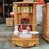 COMBO Bộ bàn thờ thần tài ông địa gỗ gõ đỏ ngang 50 cm rất đẹp