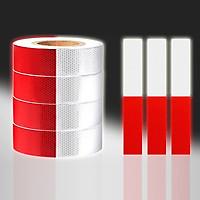 Cuộn Phản Quang 2 Màu Đỏ Trắng Bóc Dán Cho Xe Tải, Xe Container, Xe Hơi, Xe Ô tô Dài 45 Mét/ Cuộn Giúp An Toàn Ban Đêm Mai Lee