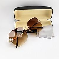 Mắt kính mát nữ không viền DKY1956, tròng Polarized phân cực, râm mát, chống nắng, chống tia UV. Form gọng kính kim loại ôm mặt