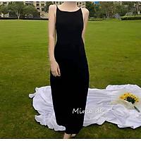 Đầm body 2 giây, váy nữ body hở lưng màu đen huyền bí