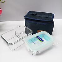 Bộ hộp cơm thủy tinh chịu lực Glasslock (400ml + 670ml chia ngăn) kèm túi giữ nhiệt