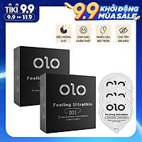 Bộ 2 hộp bao cao su OLO siêu mỏng 0.01mm Feeling Ultra Thin màu đen - hộp 3 chiếc - olo_store