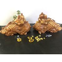 Cặp Tỳ hưu đá Vân gỗ nâu đất – dài 28cm – 9,2kg/cặp