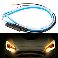 1 pair Ultrafine Cars LED Daytime Running Lights White Turn Signal Yellow Guide Strip for Headlight