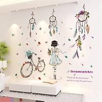 Decal dán tường phòng ngủ dễ thương combo cô gái và dreamcatcher