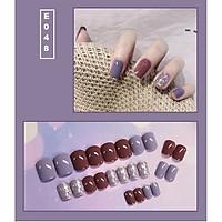 Bộ 24 móng tay giả nail thời trang họa tiết bắt mắt chống thấm nước (E048)
