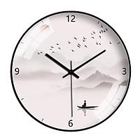 Đồng hồ treo tường tròn tranh thuỷ mặc người chèo thuyền 30cm