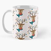 Cốc sứ uống trà cà phê in hình tuần lộc - Cốc quà tặng Noel