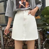 chân váy A lưng cao chất liệu kaki cá tính