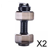 2xFitness Dumbbells Weight Strong Water Drinks Bottle 2600ml lack