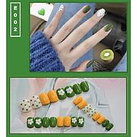 Bộ 24 móng tay giả nail thời trang họa tiết bắt mắt chống thấm nước (E002)