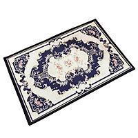 Thảm lau chân cao cấp họa tiết Tân cổ điển 40cm * 60 cm (Màu xanh)