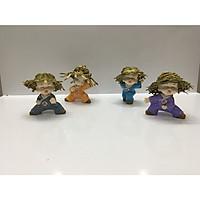 Bộ tượng 4 chú tiểu múa võ - đội nón rơm