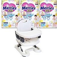 Combo 3 gói tã dán/quần Merries nội địa Nhật tặng ghế ăn dặm Mastela điều chỉnh độ cao cho bé