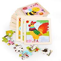 Tranh ghép gỗ 3D nhiều hình ngộ nghĩnh cho bé- Tranh ghép gỗ 9 mảnh, đồ chơi an toàn cho bé
