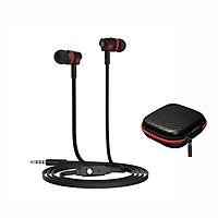 Tai nghe nhét tai có dây Langston JM26 âm thanh mạnh mẽ + Tặng kèm hộp đựng tai nghe vuông tiện lợi đa năng - Hàng nhập khẩu