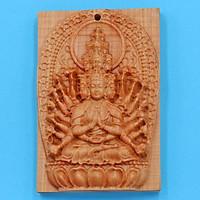 Mặt Phật gỗ ngọc am Thiên Thủ Thiên Nhãn MGPBM8 - Phật bản mệnh tuổi Tý - Sản phẩm phong thủy dành cho nam