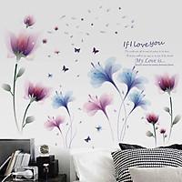 Combo decal dán tường hoa xanh tím - HP21