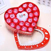 Quà Tặng Valentine - Hộp Hoa Hồng Sáp Thơm Có Trái Tim Đèn Led