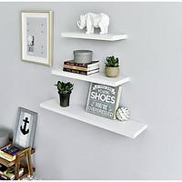 Combo bộ 3 kệ treo tường trang trí màu trắng 1010W