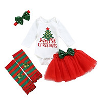 Baby Christmas Clothes Children  Clothing Baby Girl Long-sleeved Rompers Net Yarn Skirt Knee-length Headband 4PCS Baby Clothes