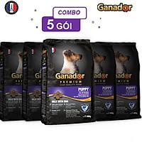 Combo 5 gói thức ăn cho chó con Ganador vị sữa & DHA Puppy Milk with DHA 400 gram