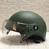 Mũ Bảo Hiểm có kính 1/2 đầu xanh lính nhám