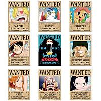 Bộ 9 tấm poster anime dán tường Wanted Băng Mũ Rơm - One Piece