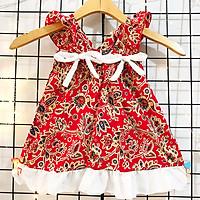 [TẶNG KÈM TURBAN] Đầm thổ cẩm 2 nơ đỏ rực rỡ cho bé 8-23kg chất cotton thô mềm nhẹ mát cho bé nổi bật lung linh – D078