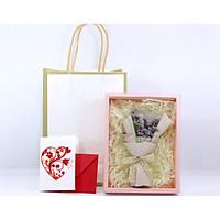 Hộp Hoa Mini Kèm Giỏ Xách và Thiệp Handmade Làm Quà Tặng