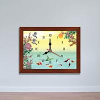 Tranh đồng hồ hình Cửu ngư quần hội | Đồng hồ để bàn WC070