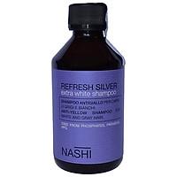 Dầu gội khử vàng NASHI Refresh Silver Extra White shampoo cho tóc trắng xám bạch kim Italy 250ml