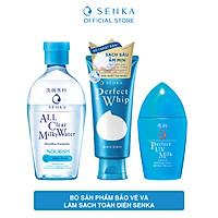 Bộ sản phẩm bảo vệ & làm sạch toàn diện Senka (Sữa chống nắng UV Milk 40ml + Nước sữa tẩy trang Milky 230ml + SRM Whip 120g)