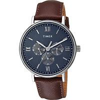 Đồng hồ Dây Da Nam Timex  Southview 41mm Silver-tone Case Blue Dial Brown Leather Strap - TW2T35100