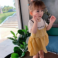 Girls Dress Summer Casual Baby Girls Cartoon Letter Print Dress Denim Kids Toddler Short Sleeve Sundress Outfits 2-8T