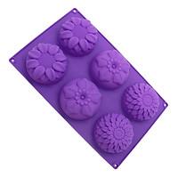 Khuôn rau câu Silicon vĩ 6 hoa hướng dương, hoa sakura, hoa cúc