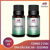 Combo 2 chai Tinh dầu Bạc Hà Nhật Bản – Essenbee (20ml/chai) - Tinh dầu nguyên chất, hỗ trợ thư giãn tinh thần, giảm stress và đau đầu, chống say tàu xe, giúp giảm ho, nghẹt mũi, viêm xoang
