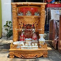 Combo bộ bàn thờ gỗ gõ đỏ ngang 60cm – Cặp tài địa 10in màu đỏ