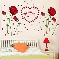 Decal dán tường đôi hoa hồng nhung đỏ to - HP171