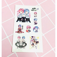 Set 5 Bảng hình xăm RE:ZERO Sticker Tattoo